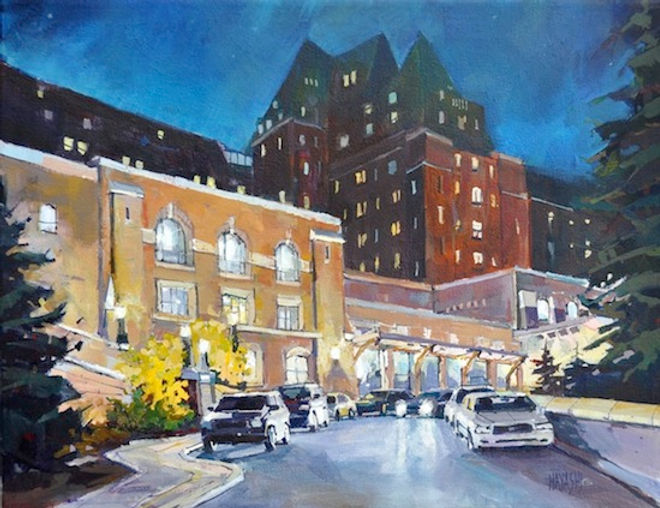 multi-colour arcylic painting titled Late Arrival at Banff Springs by artist randy hayashi.