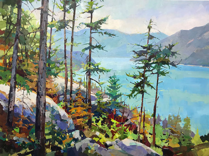 multi-colour arcylic painting titled SOLD-Howe Sound View by artist randy hayashi.