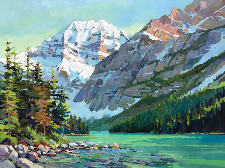 multi-colour arcylic painting titled Cavell Lake by artist randy hayashi.