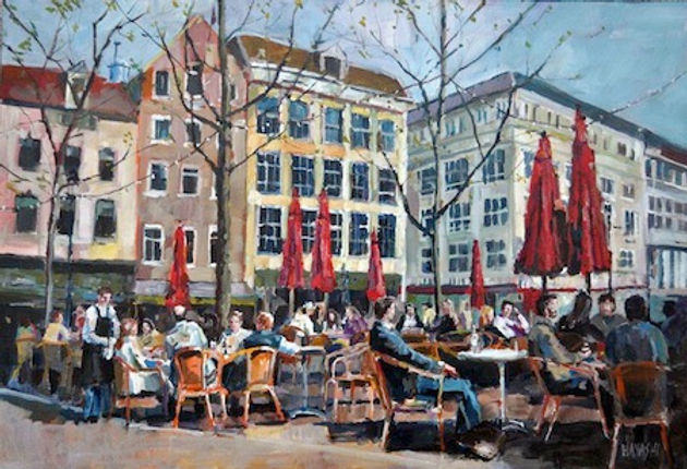 multi-colour arcylic painting titled Open Air Cafe by artist randy hayashi.