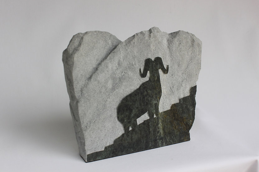 soapstone scupture titled Upright - Big horn sheep on mountain by sculptor roy hinz.