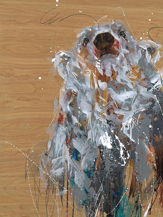 Multi-colour arcylic painting of a bear titled Radar by artist fran alexander