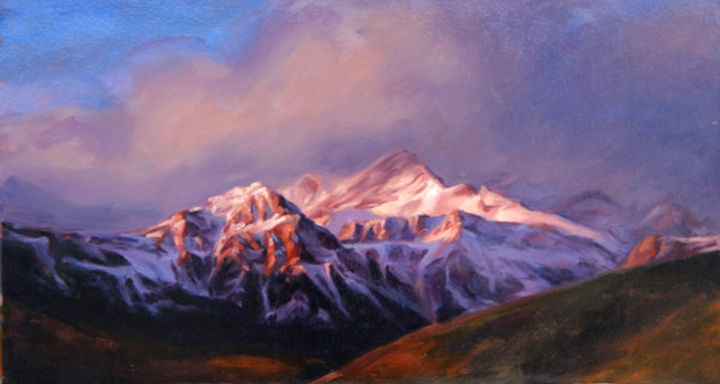 multi-colour oil painting titled Mountain Brilliance by artist michael downs