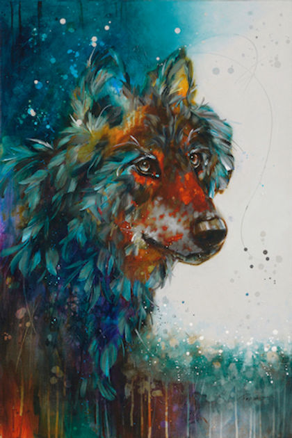 Multi-colour watercolour painting of a wolf titled SOLD-Wolf Spirit by artist fran alexander