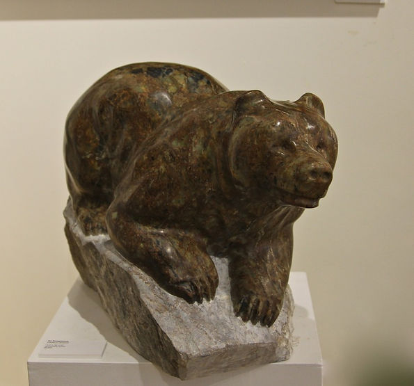 serpentine stone sculpture titled SOLD-In Suspense by sculptor cathryn jenkins.