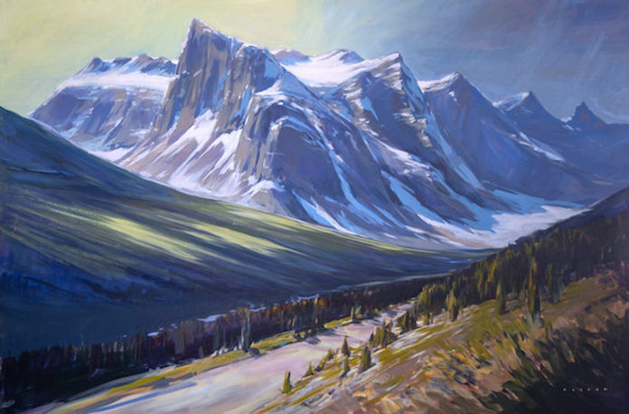 multi-colour arcylic painting titled Valley of Ten Peaks Clarity by artist charlie easton