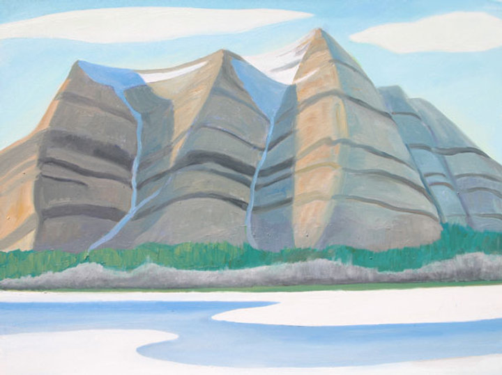 multi-colour oil painting titled Three Peaks Plus 2005 by artist doris mccarthy.
