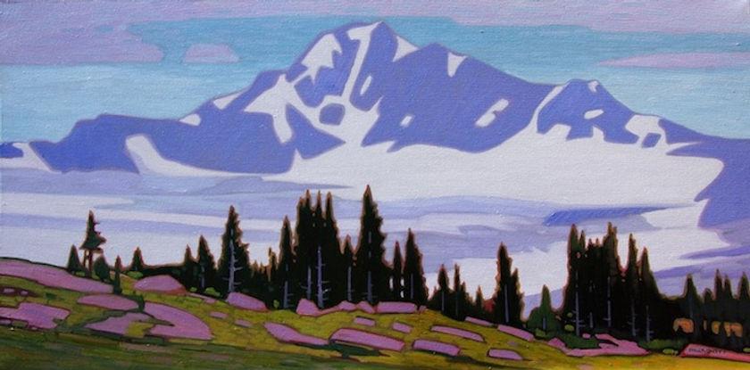 multi-colour oil painting titled Hazy Avalanche Mountain by artist nicholas bott