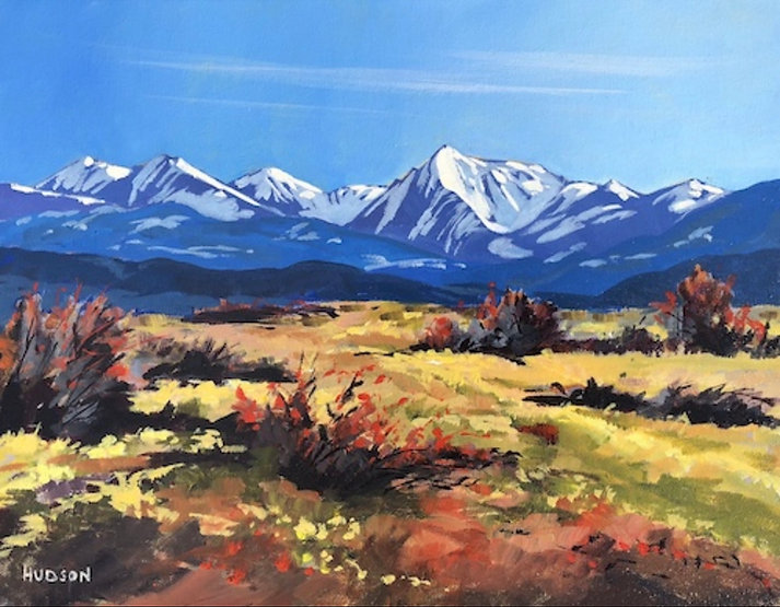 multi-colour acrylic painting titled Alberta Foothills by artist phillipa hudson.