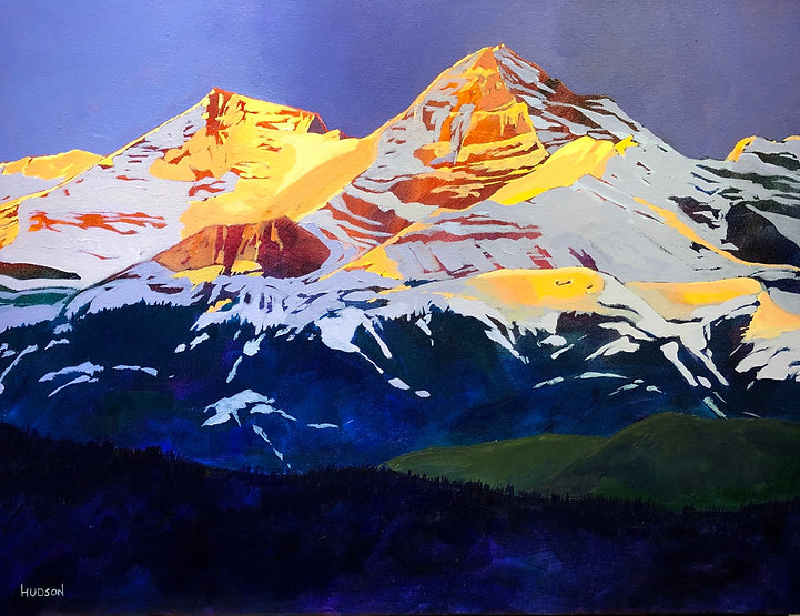 multi-colour acrylic painting titled Sunrise on Cougar Mountain by artist phillipa hudson.