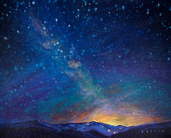 multi-colour arcylic painting titled Whistler Nocturne II by artist charlie easton