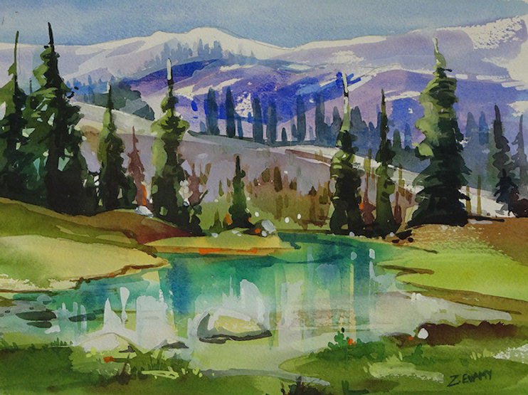 multi-colour watercolour painting titled SOLD Harmony Lake by artist zoe evamy