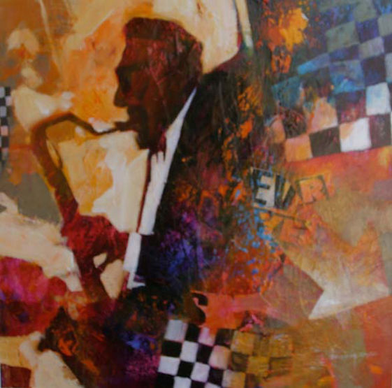 multi-colour mixed media painting titled Hector Solo by artist brian atyeo