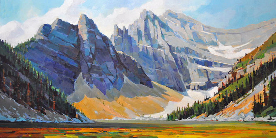 multi-colour arcylic painting titled Lake Agnes by artist randy hayashi.