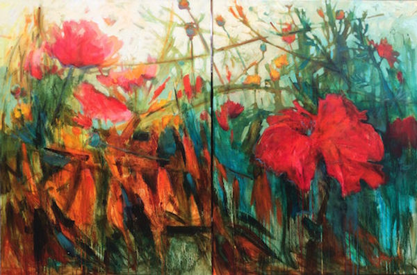 multi-colour acrylic painting titled Daylight in Nature (diptych) by artist gail johnson.
