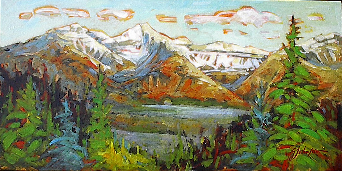 multi-colour acrylic painting titled Fairholme Study by artist gail johnson.