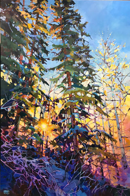 multi-colour arcylic painting titled SOLD - Spilling Light by artist randy hayashi.