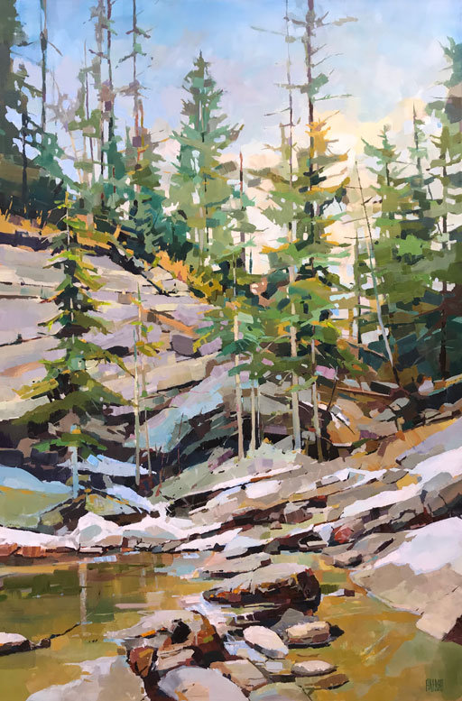 multi-colour arcylic painting titled SOLD-Quiet Canyon by artist randy hayashi.