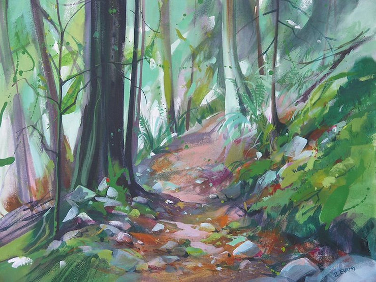 multi-colour arcylic painting titled Autumn Trail by artist zoe evamy