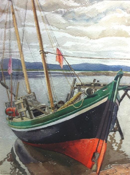 multi-colour watercolour painting titled Fishing Boat Barachois 1941 by artist doris mccarthy.
