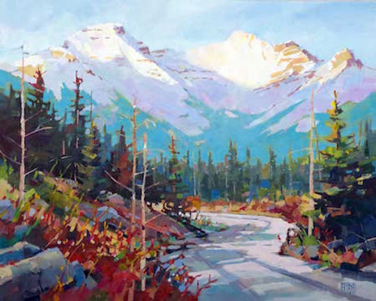 multi-colour arcylic painting titled Vermillion Lakes Rd Summer by artist randy hayashi.