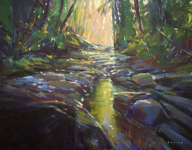 multi-colour arcylic painting titled Stream of Light by artist charlie easton.