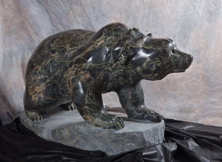 serpentine stone sculpture titled SOLD - First Summer without Momma by sculptor cathryn jenkins.