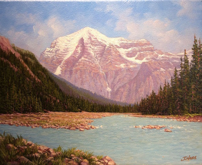 multi-colour arcylic painting titled SOLD Mount Robson - West of Jasper by artist joe haire.