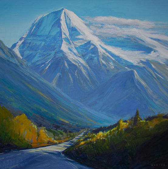 multi-colour arcylic painting titled Massive Mount Robson by artist charlie easton