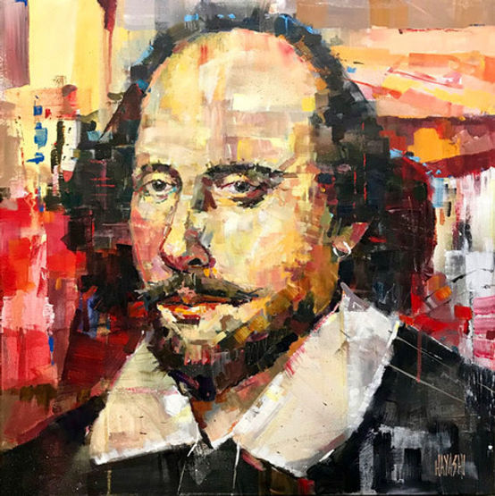 multi-colour arcylic painting titled Shakespeare by artist randy hayashi.