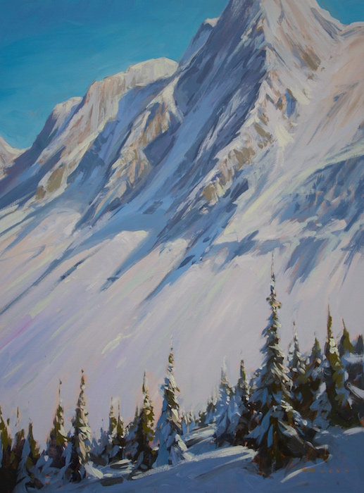 multi-colour arcylic painting titled Behind the Glacier by artist charlie easton