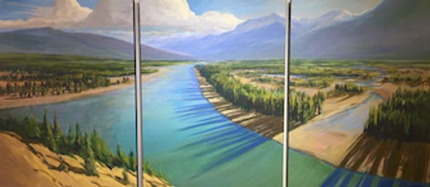 multi-colour arcylic painting titled Athabasca Grandeur (triptych) by artist charlie easton
