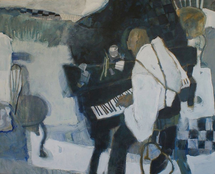 multi-colour arcylic painting titled Beyond Blues by artist brian atyeo