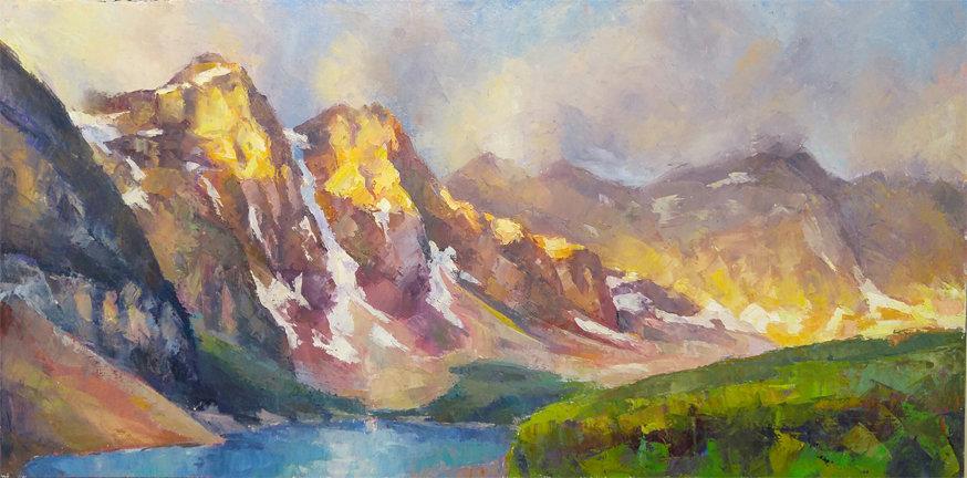 multi-colour oil painting titled Moraine's colours by artist michael downs