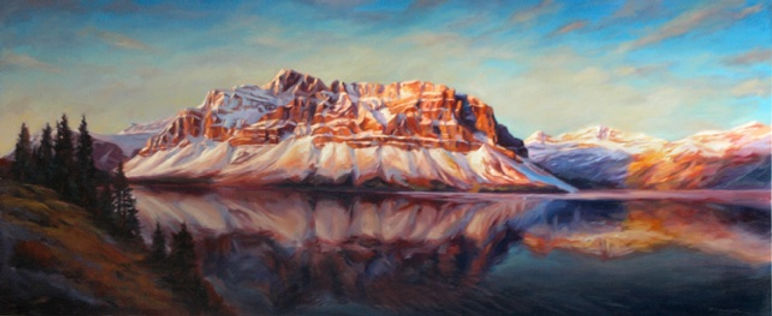 multi-colour oil painting titled Bow Lake Glacier by artist michael downs