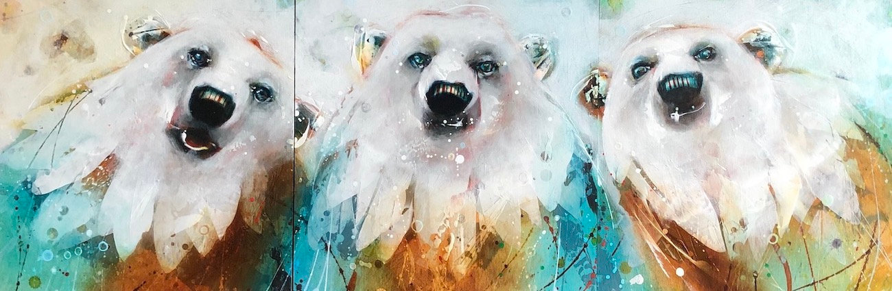Multi-colour arcylic painting of a bear titled Celebration of Polar Bears - Triptych by artist fran alexander