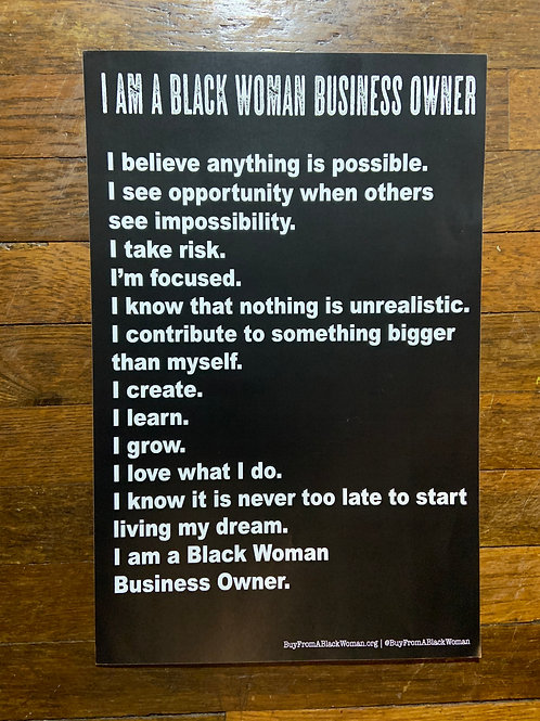 I am A Black Woman Business Owner Poster