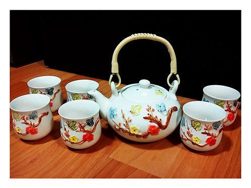3D Flower with Butterfly Teapot Set