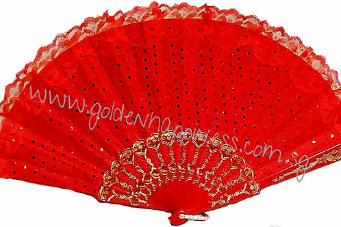 Lacy Polka Dot Sequin Red Fan