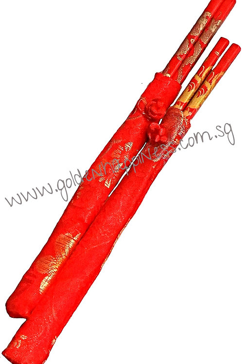 Dragon and Phoenix Chopsticks in Silk Cover