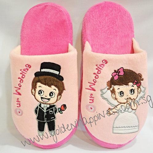 Pink Bride & Groom Bedroom Slippers SLL-02