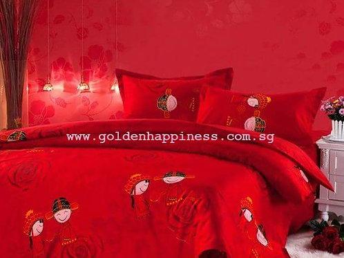 Classic Happy Bride and Groom Bedsheet Set BS-07
