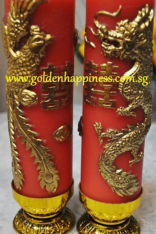 3D Gold Dragon & Phoenix Candles (Large Size)