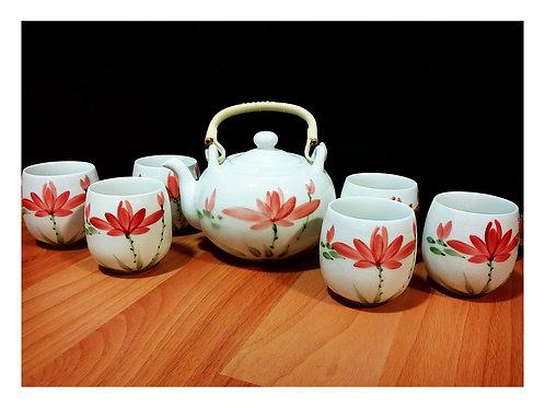 Red Lotus Hand Painted Teapot Set