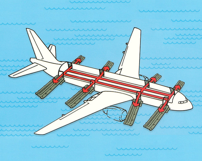 Inflight safety card image of plane emergency exits