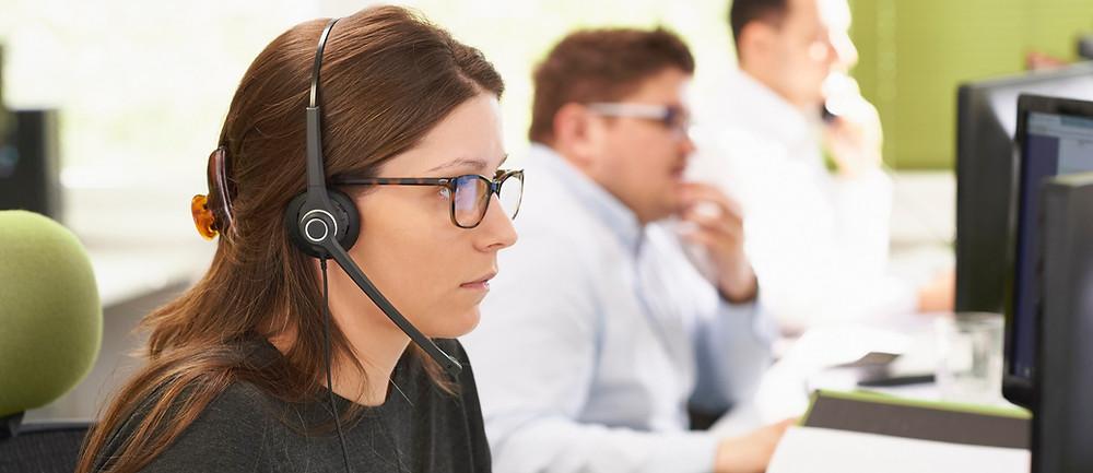 woman on headphones