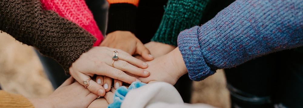 group of women hands