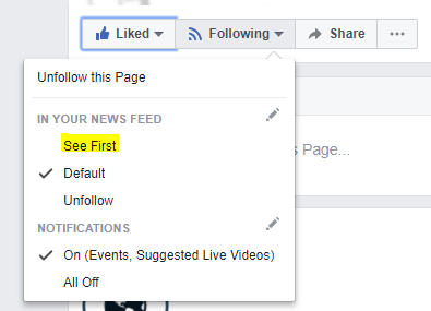 Facebook page | see first