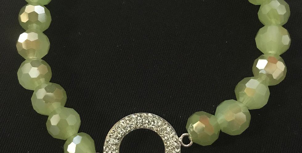 Bracelet élastic vert brillant avec strass rond, verre