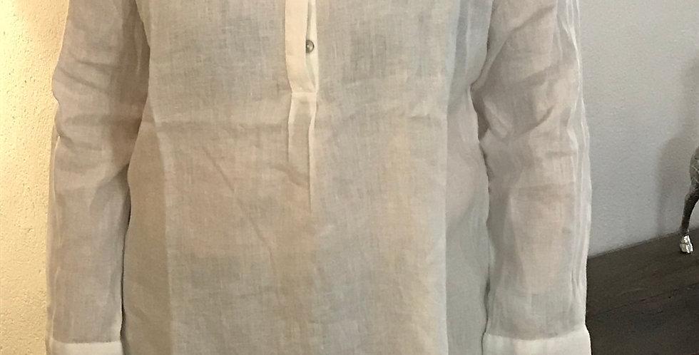 Chemisier blanc avec des boutons, forme longue et droite, lin, Taille 40